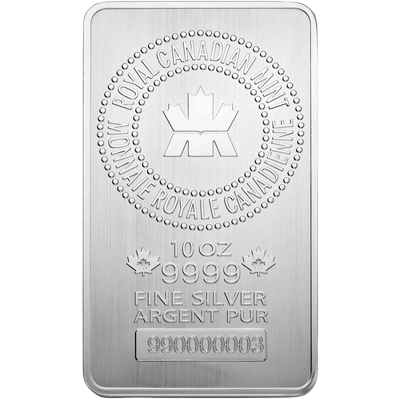 A picture of a 10 oz. Royal Canadian Mint Silver Bar